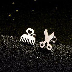 Stainless Steel Comb Scissor Stud Earrings